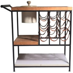Arthur Umanoff Bar Cart with Wine Rack and Butcher Block