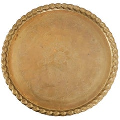 20th Century Indian Etched Brass Circular Tray