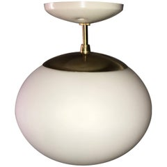 Simple Brass and Frosted Glass Pendant Light