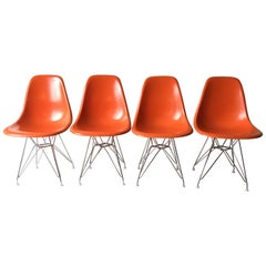 Herman Miller Charles Eames Orange Fiberglass Shell Chairs Eiffel Bases