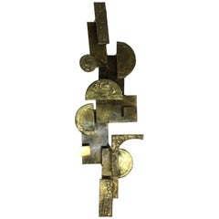 Brutalist Metal Brass 1970s Signed Sculpture Wall Hanging