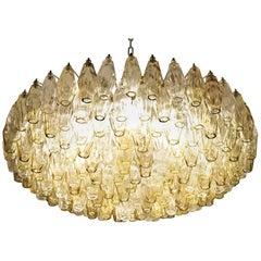 Mid-Century Poliedri Chandelier, Clear Taupe  Amber Glass, Murano made