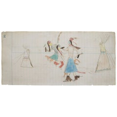 Plains Indian Ledger Drawing Whooping It Up