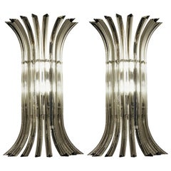 Two Midcentury Murano Triedri Sconces, Acciaio Grey Filigree, 1980s