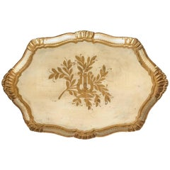 Large Italian Florentine Cream and Gold Tray