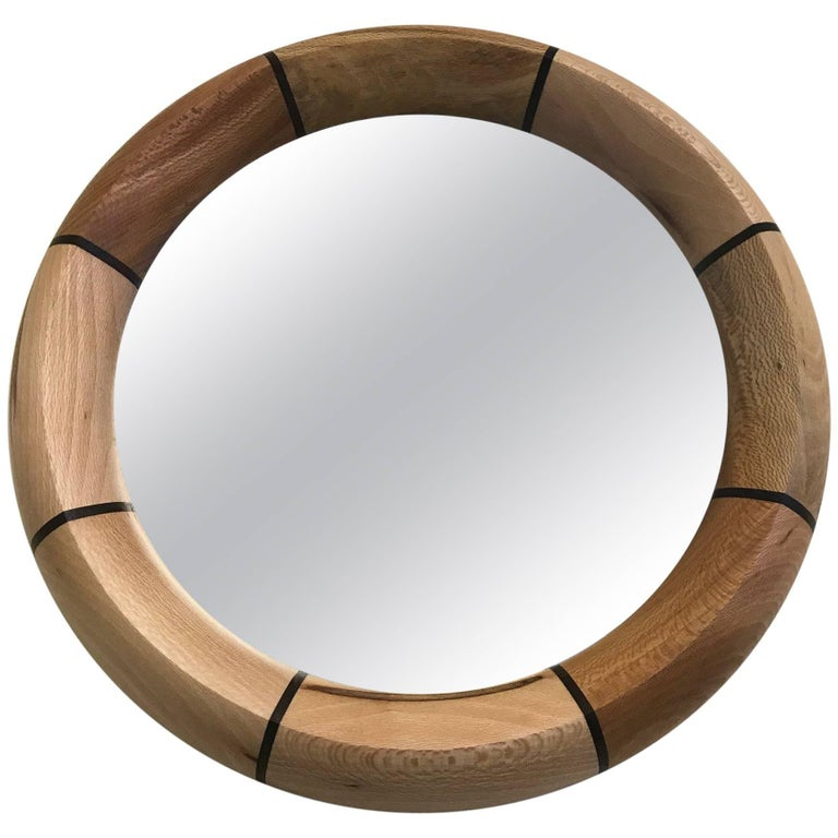 Custom Mirror with Oak and Rosewood Inlay