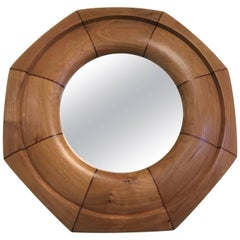 Custom Solid Cherrywood with Walnut Inlay Octagonal Mirror