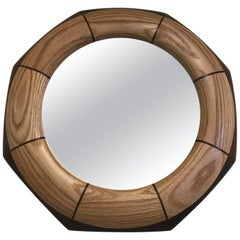 Custom Octagonal Walnut and Oak Inlay Mirror
