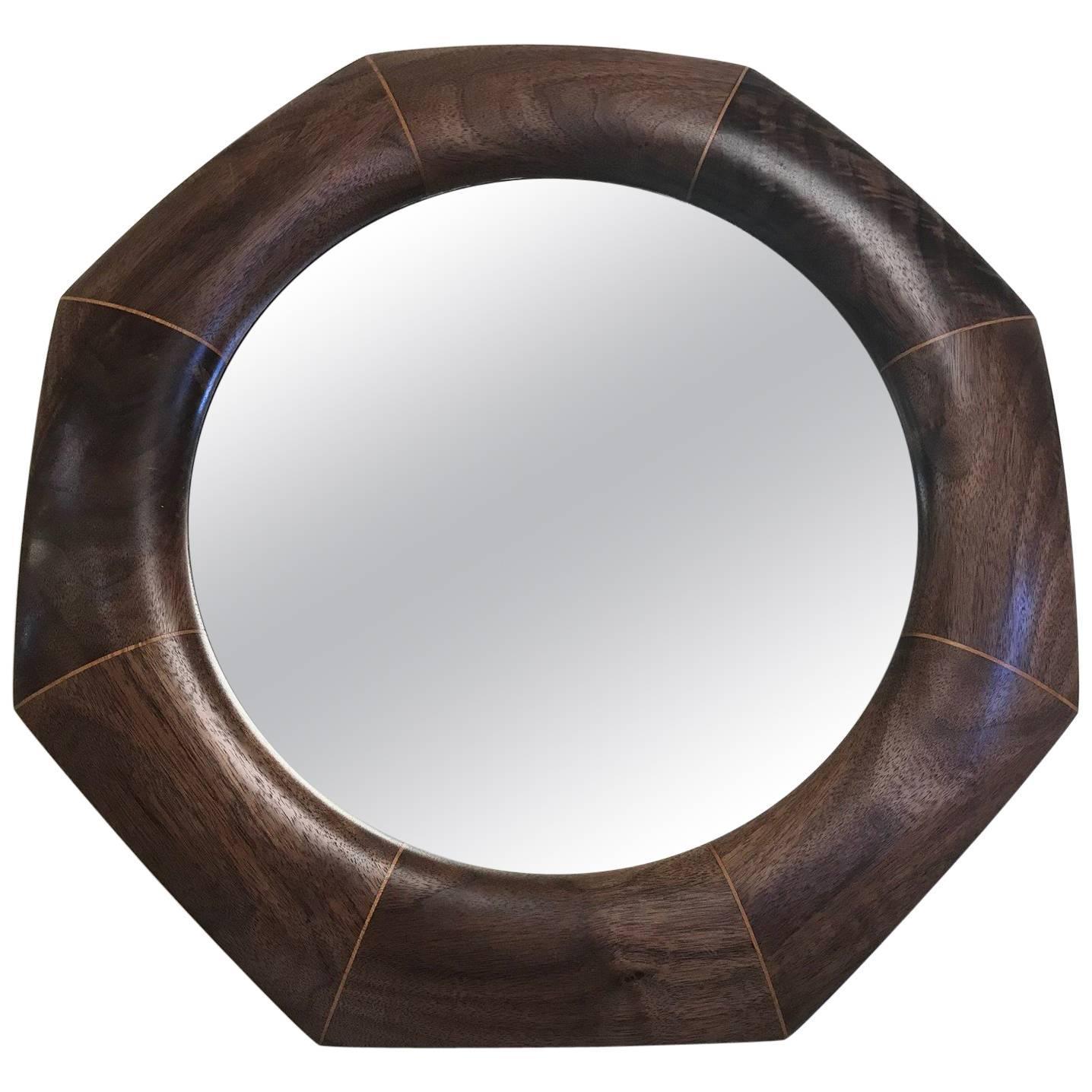 Custom Solid Walnut Octagonal Mirror