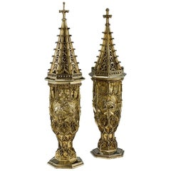 Antique Swiss Solid Silver-Gilt Large Steeple Cups, Ulrich Sauter, circa 1910