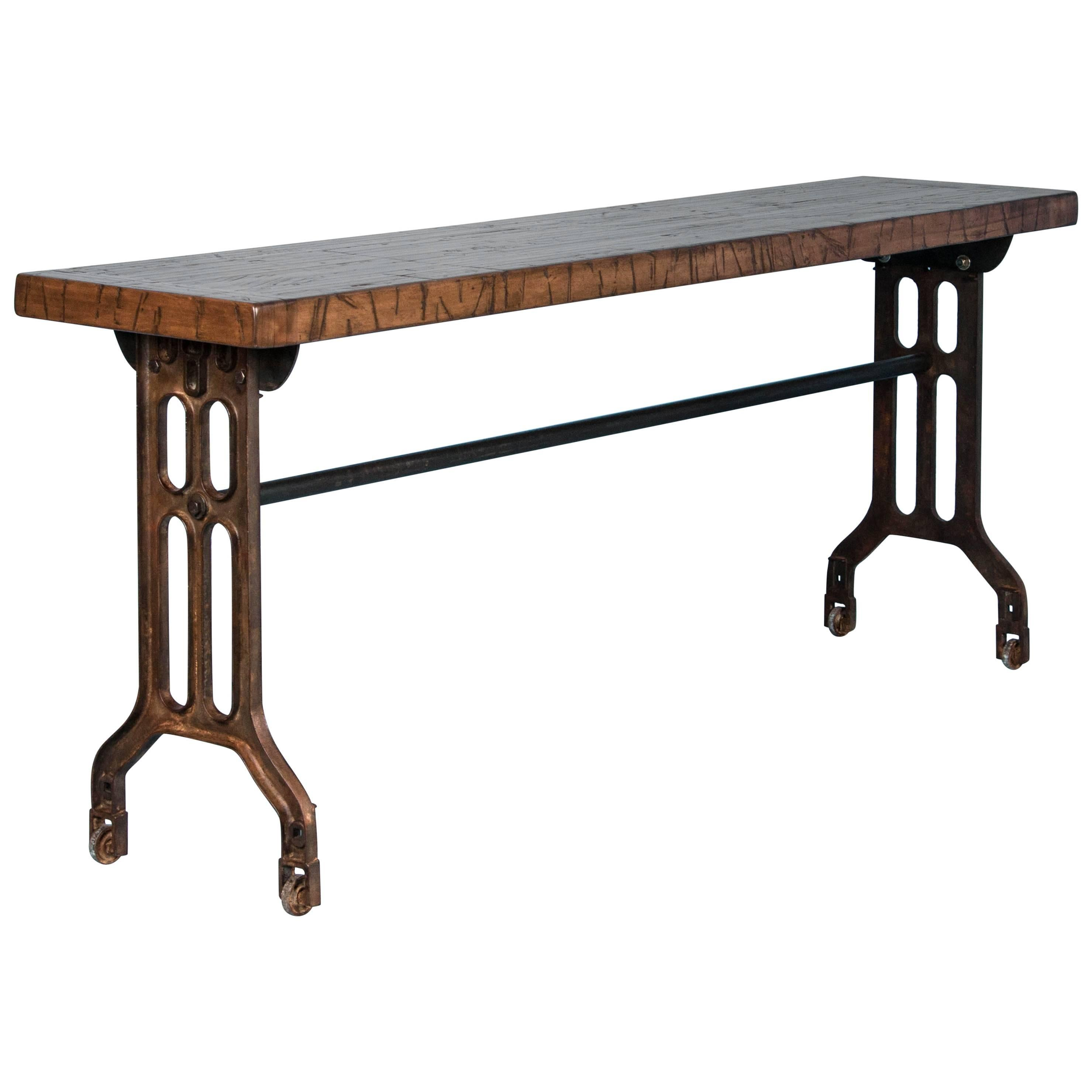 Industrial Console Table With Reclaimed Maple Top And Antique Cast Iron  Legs 1