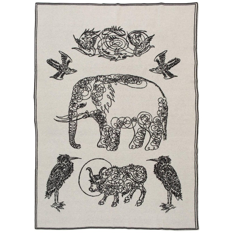 Elephant and Friends Blanket by Saved, New York For Sale