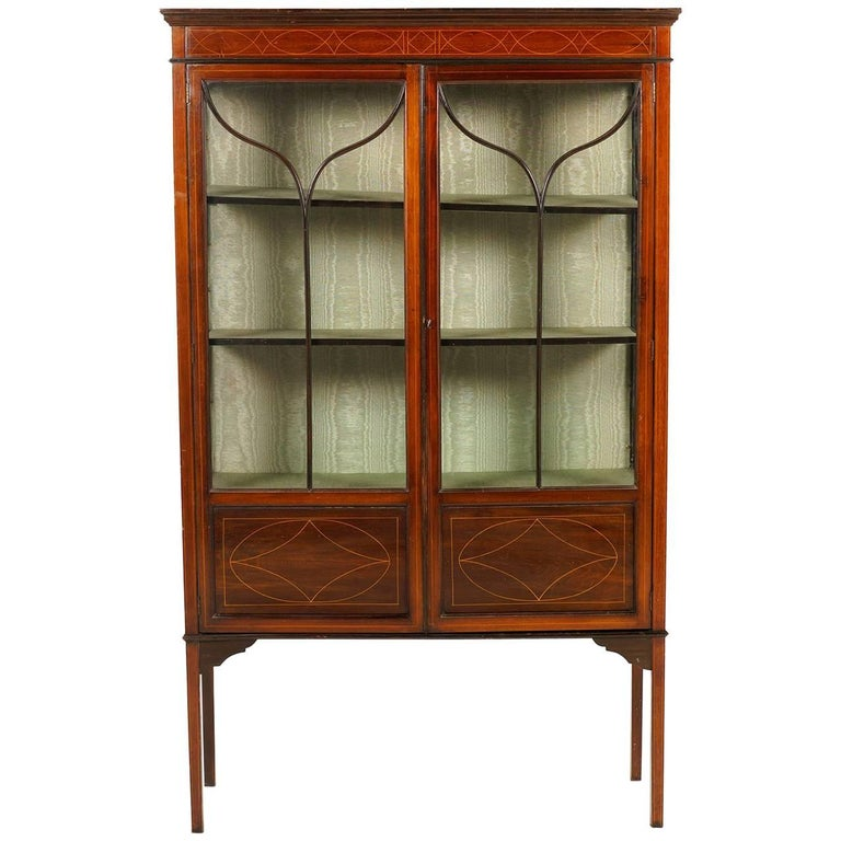 Antique English Inlaid Mahogany China Cabinet For Sale - Antique English Inlaid Mahogany China Cabinet For Sale At 1stdibs