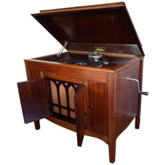 Early 20th Century Handcrafted Mahogany Art Deco Gramophone/Record Player