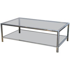 Large French Rectangular Low Table of Chrome, Brass and Smoked Glass