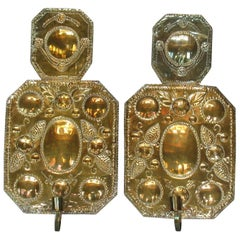 Pair of Swedish Arts & Crafts Brass Repoussé One Light Wall Candle Sconces
