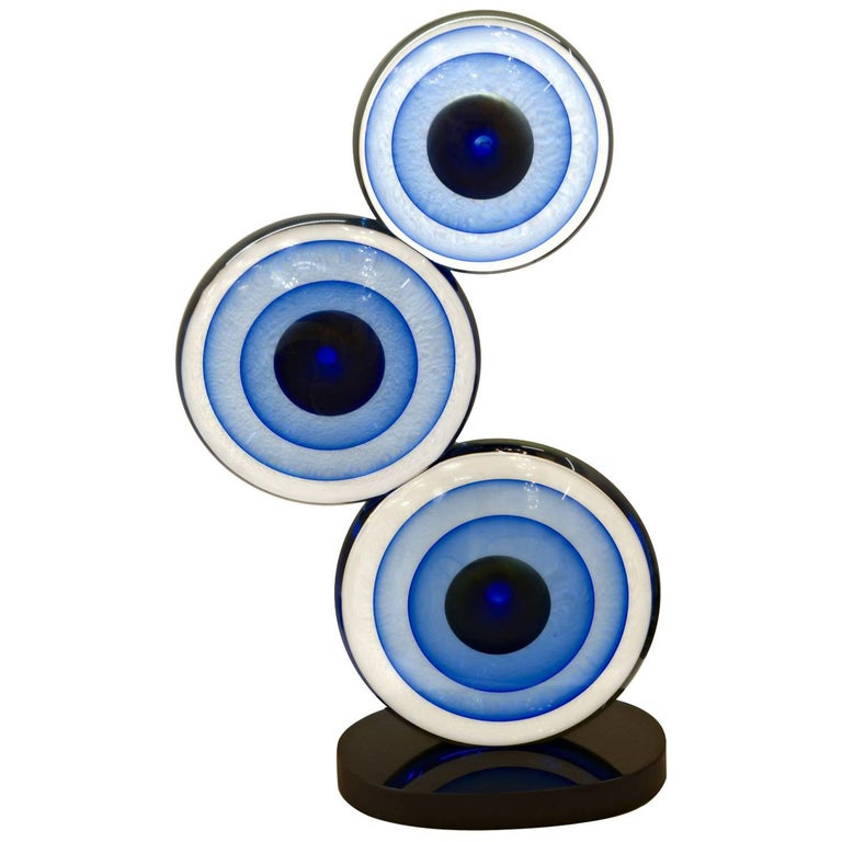 Romano Dona, Three Discs Sculpture, Black Base Cobalt Gold Centre with Sommerso For Sale