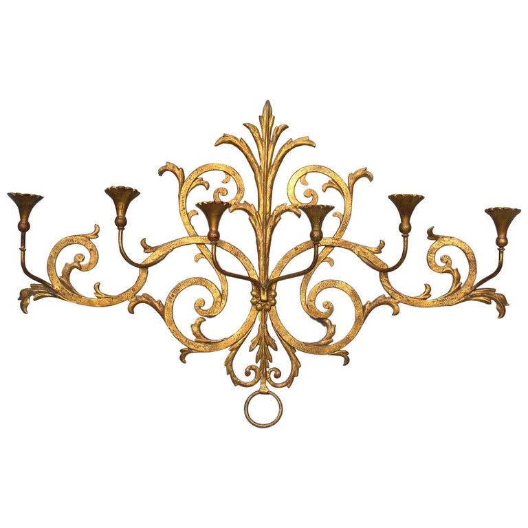 Large Italian Gilt Wrought Iron Six-Light Wall Candle Sconce