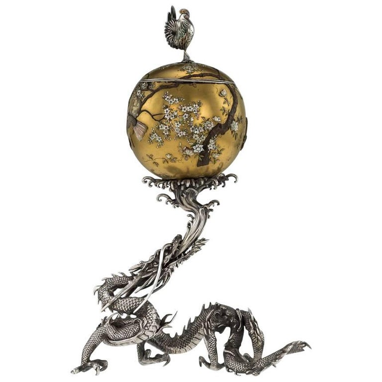 Antique Japanese Solid Silver, Enamel and Shibayama Dragon, Kazumi, circa 1890 For Sale