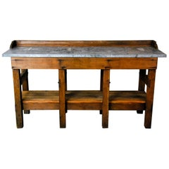 1930 Industrial Workbench Sideboard with Zinc Top