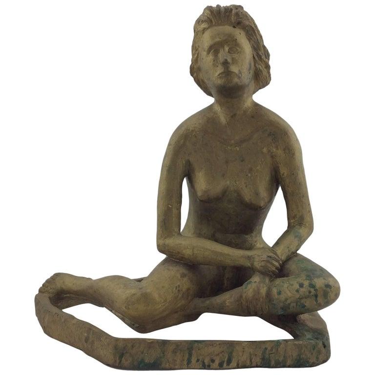 Vintage Midcentury Brass Nude Sculpture Signed
