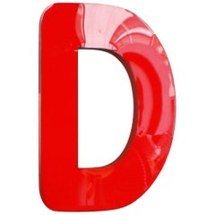 Vintage Mid-Century Lighting Letter D, Red Acrylic Glass Sign, Austria