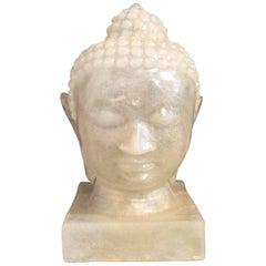 Mid-Century Modern Handmade Fiberglass Buddha Head Lamp, Boho Style