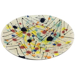 Large Vintage Abstract Studio Pottery Platter, Signed and Dated 1972