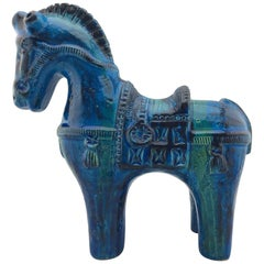 Italian Mid-Century Modern Rimini Blu Horse by Aldo Londi for Bitossi