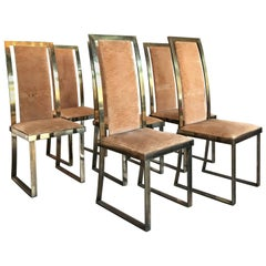 Italian Chairs in Massive Brass, 1960, Set of six