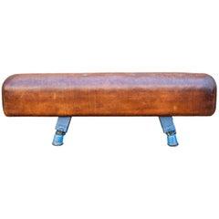 Vintage Gymnastic Leather Pommel Horse Bench, 1930s, Restored