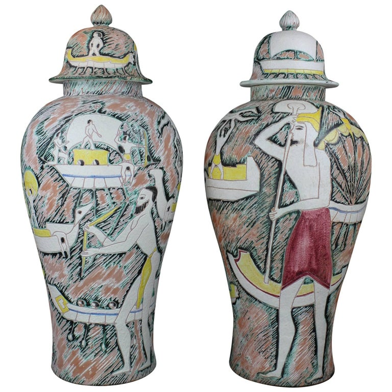 Monumental Pair of Marcello Fantoni Etruscan Sgraffiti Vases with Covers For Sale