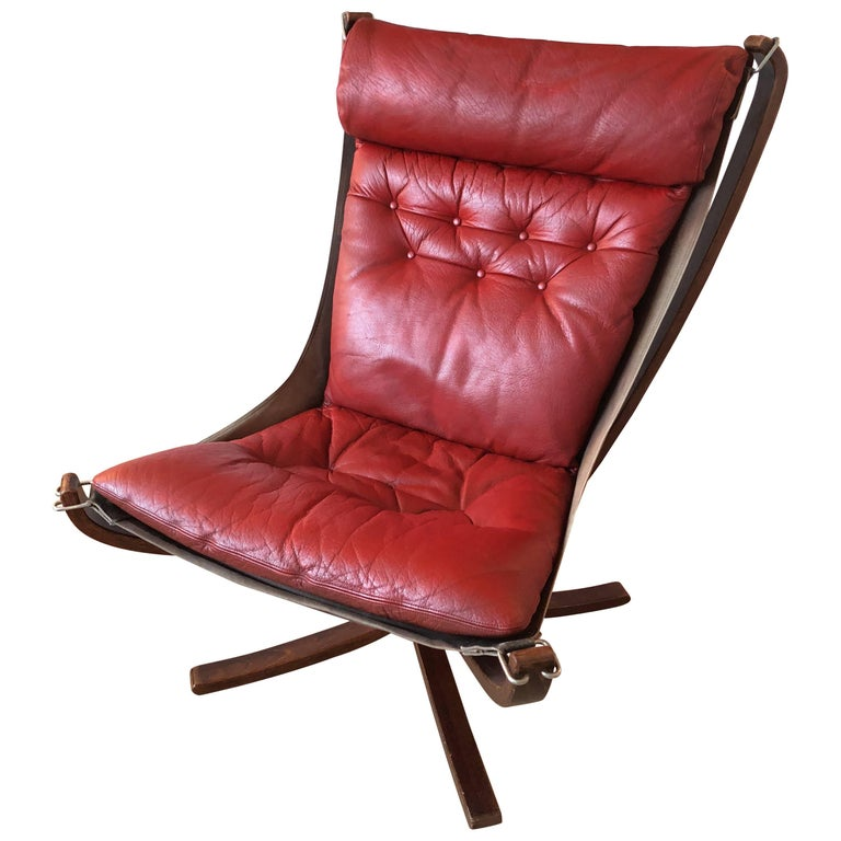 Red Falcon Chair by Sigurd Ressell for Vatne Møbler, 1970s