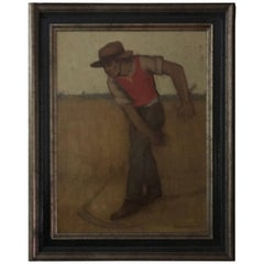 """the Mower"" by Ludo Laagland  Oil on Panel, 1980"