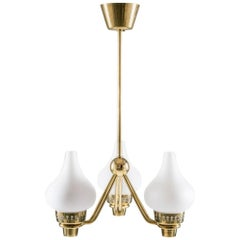Swedish Chandelier in Brass and Opaline Glass by Hans Bergström for ASEA
