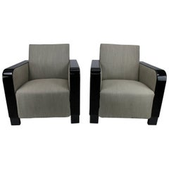 Pair of Swedish Art Deco 1930s Black Lacquered Lounge Chairs