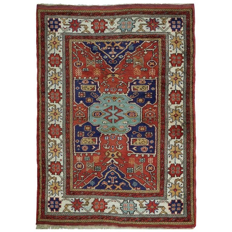 Vintage Turkish Kazak Rug From The Town Of Milas At 1stdibs