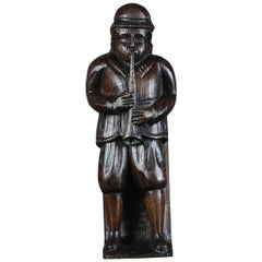 19th Century Naive Oak Carved Musician