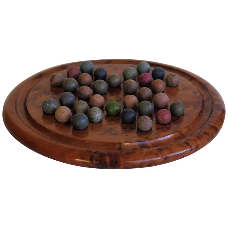 Marble Solitaire Burr Wood Board Game 32 Early Handmade Stone Marbles, Ca 1900