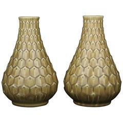 Pair of Very Unusual Peacock Pattern Vases by Ewald Dahlskog for Bo Fajans