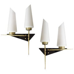 Pair Maison Arlus Glass Modernist  Brass Mirror Vanity Sconces,  Stilnovo Style