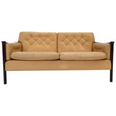 Norwegian Cream Leather and Rosewood Two-Seater Sofa by Torbjorn Afdal