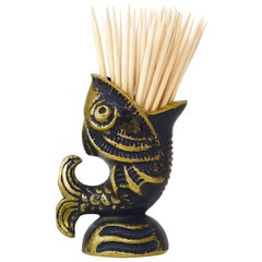Walter Bosse Fish Brass Sculpture Toothpick Stand, Hertha Baller, Austria, 1950s