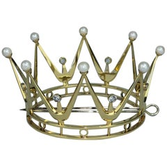 Bridal Crown in Gilt Silver, Pearls and Rock Crystal