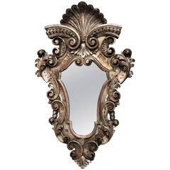 Highly Decorative Late 19th Century Italian Silver Giltwood Rococo Style Mirror