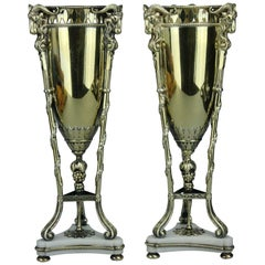 Magnificent Pair of Swedish Gilt Silver and Marble Vases by C G Hallberg, 1912