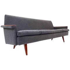 Norwegian Dark Grey Wool Teak Three-Seat Sofa Midcentury Upholstered, 1960s