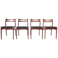 Danish Set of Four Teak and Charcoal Grey Midcentury Dinning Chairs, 1960s
