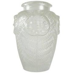 "Lalique France Covered Vase ""masques de femmes"""