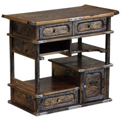 Small20th Century Meiji PeriodJapanese Gold & Black LacqueredTable Cabinet